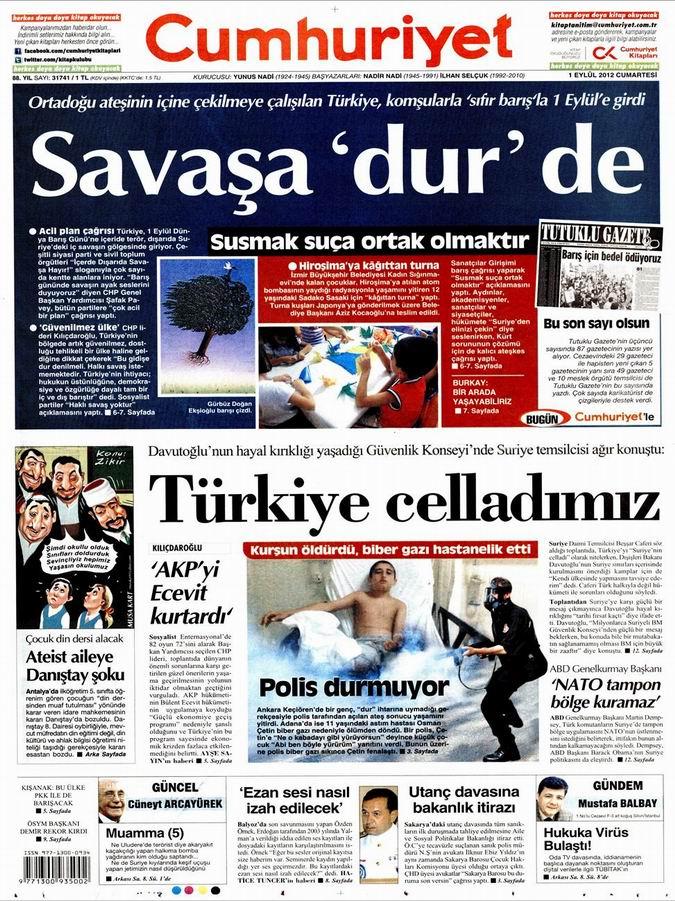 Gazete Manşetleri - 1 Eylül Cumartesi 20