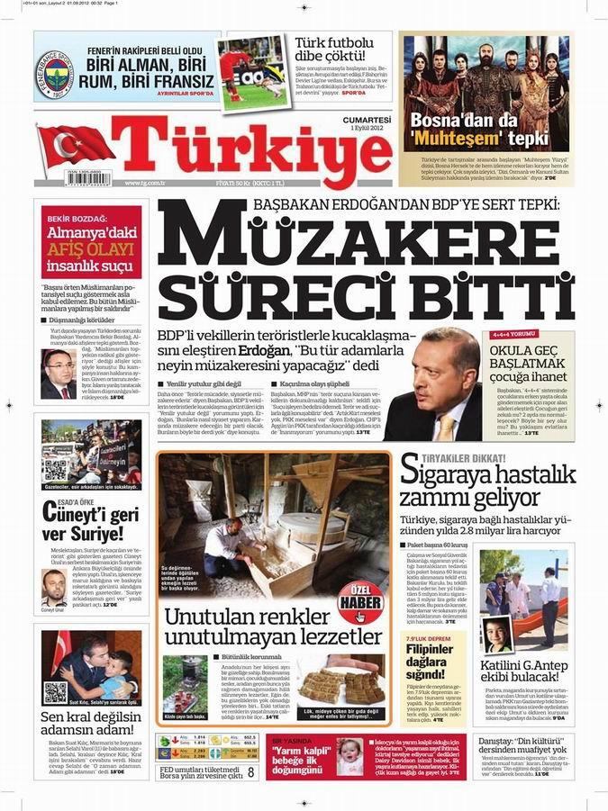 Gazete Manşetleri - 1 Eylül Cumartesi 6
