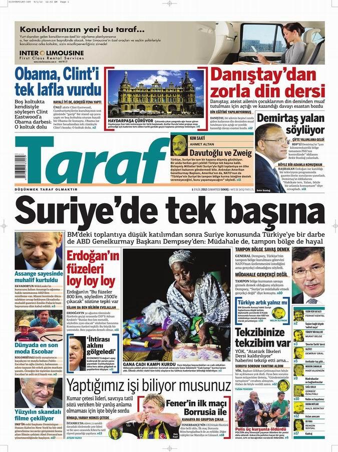 Gazete Manşetleri - 1 Eylül Cumartesi 8
