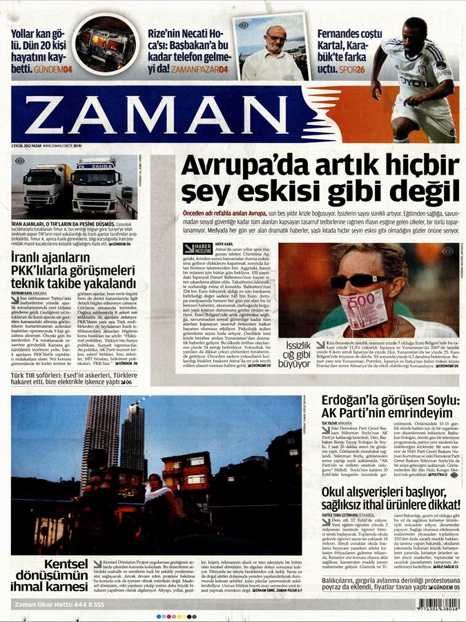 Gazete Manşetleri - 2 Eylül Pazar 1