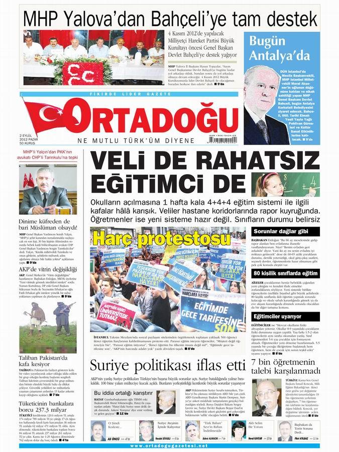 Gazete Manşetleri - 2 Eylül Pazar 14