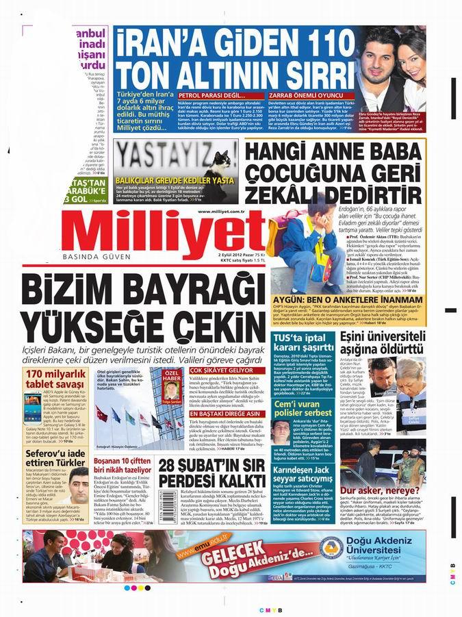 Gazete Manşetleri - 2 Eylül Pazar 15