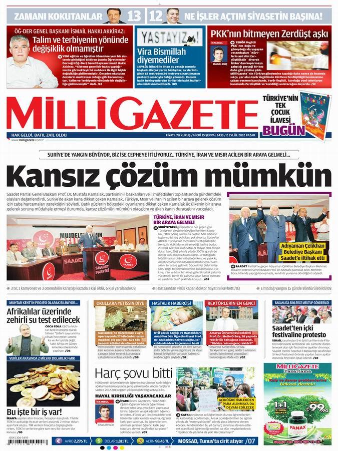 Gazete Manşetleri - 2 Eylül Pazar 16