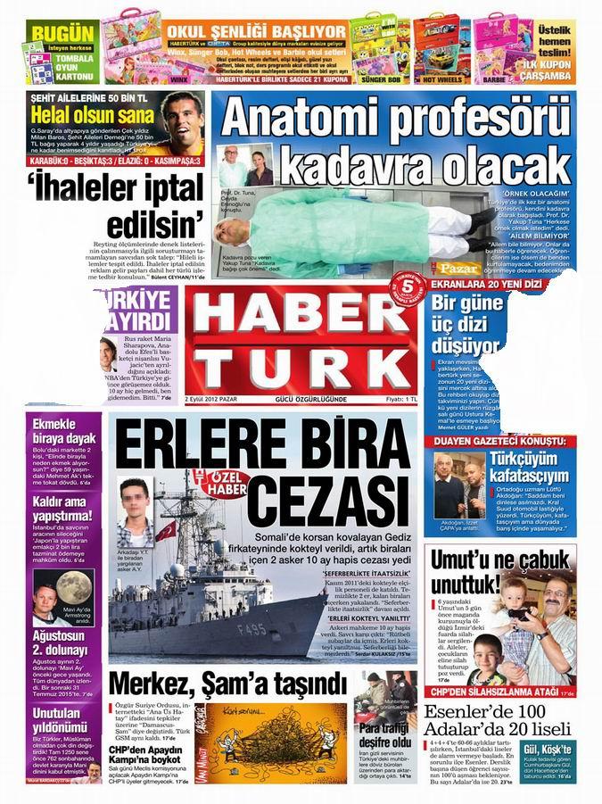 Gazete Manşetleri - 2 Eylül Pazar 19