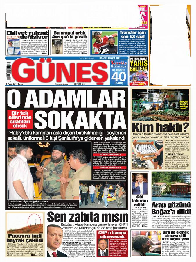 Gazete Manşetleri - 2 Eylül Pazar 20