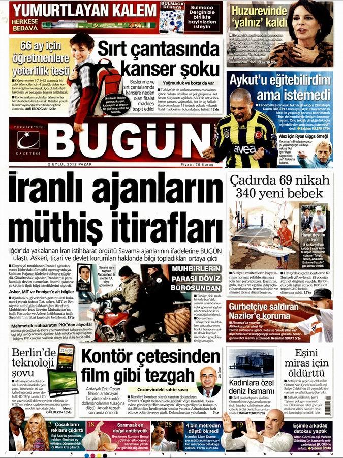 Gazete Manşetleri - 2 Eylül Pazar 22