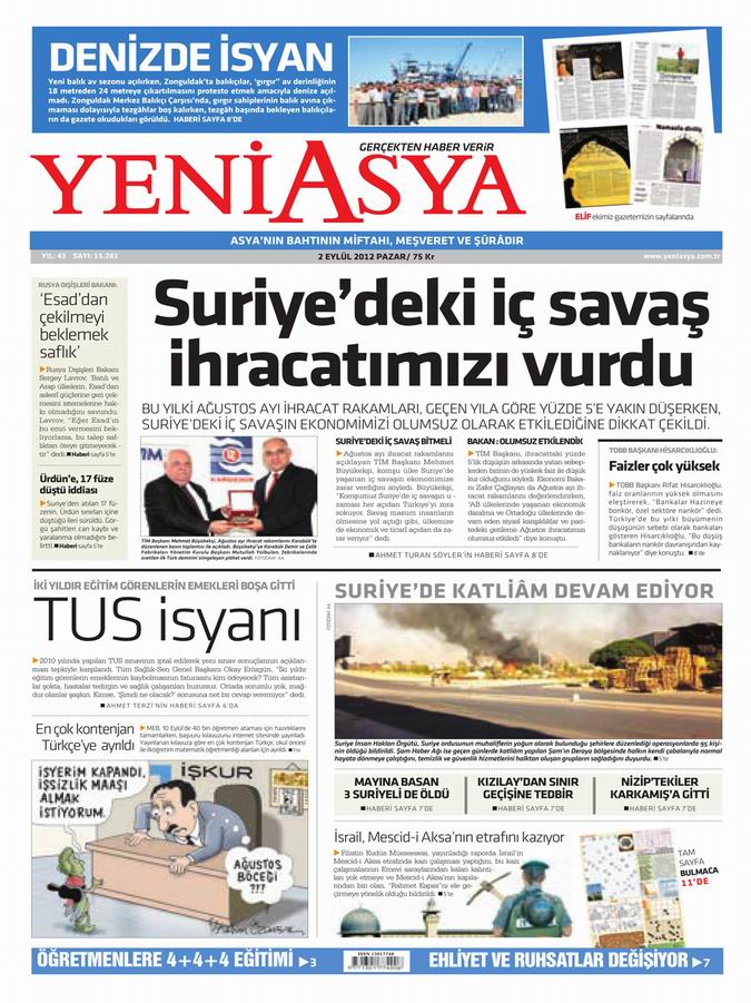 Gazete Manşetleri - 2 Eylül Pazar 3