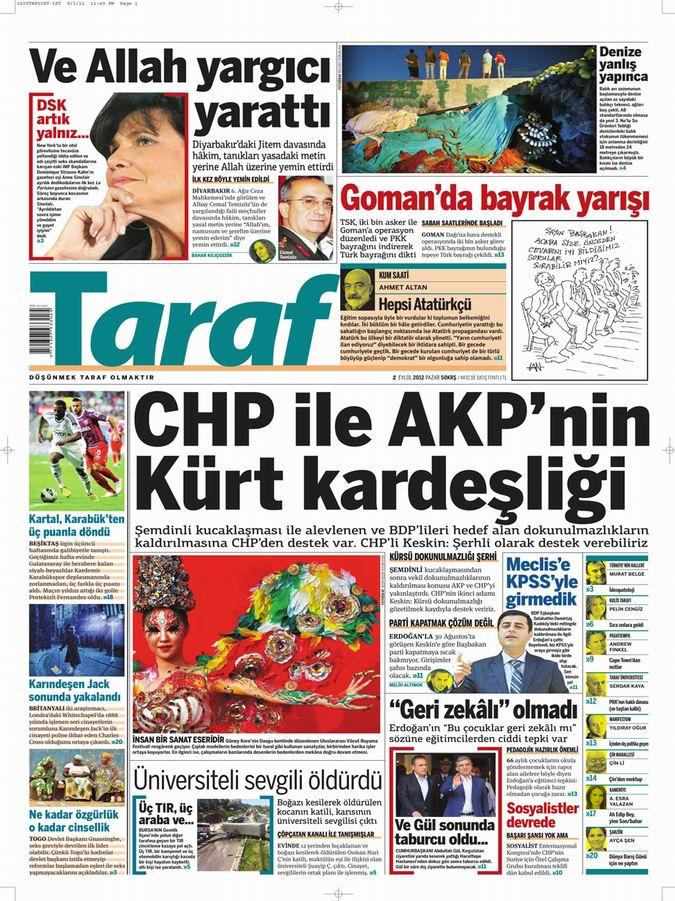 Gazete Manşetleri - 2 Eylül Pazar 8