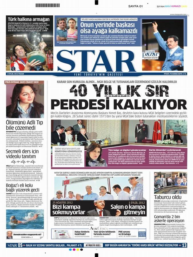 Gazete Manşetleri - 2 Eylül Pazar 9