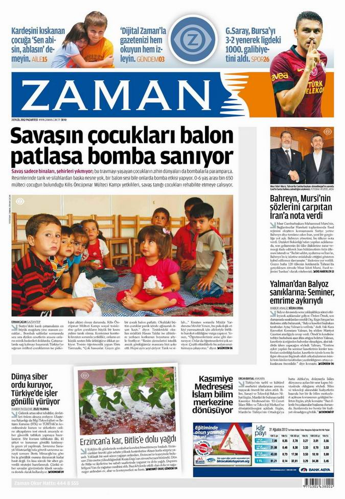 Gazete Manşetleri - 3 Eylül Pazartesi galerisi resim 1