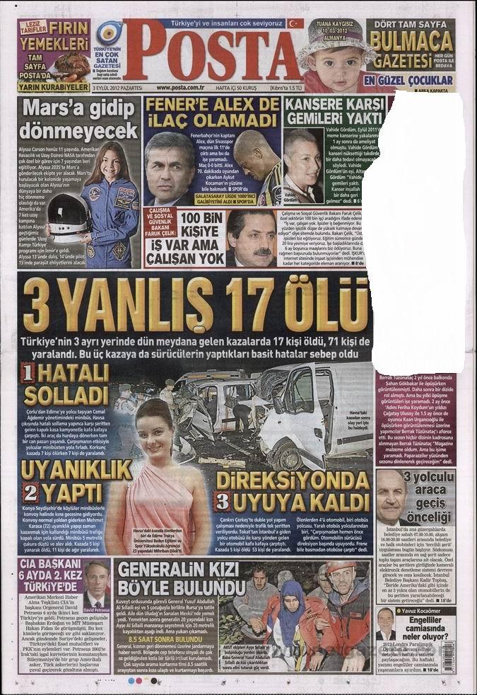 Gazete Manşetleri - 3 Eylül Pazartesi 13