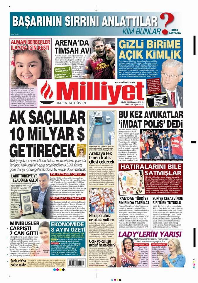 Gazete Manşetleri - 3 Eylül Pazartesi 14