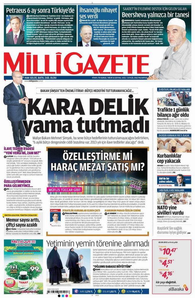 Gazete Manşetleri - 3 Eylül Pazartesi 15