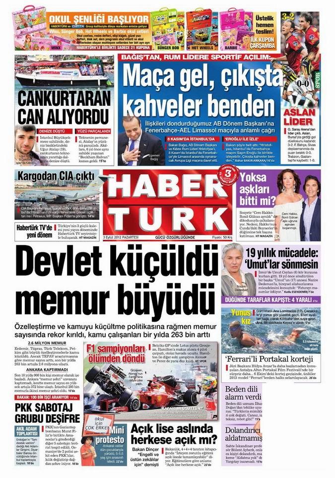 Gazete Manşetleri - 3 Eylül Pazartesi 18