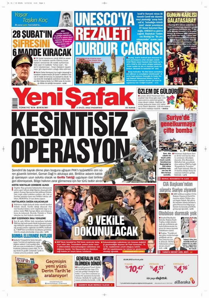 Gazete Manşetleri - 3 Eylül Pazartesi 2