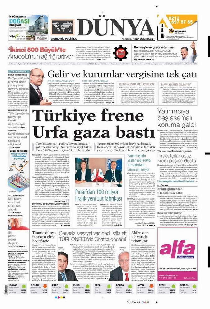 Gazete Manşetleri - 3 Eylül Pazartesi 20