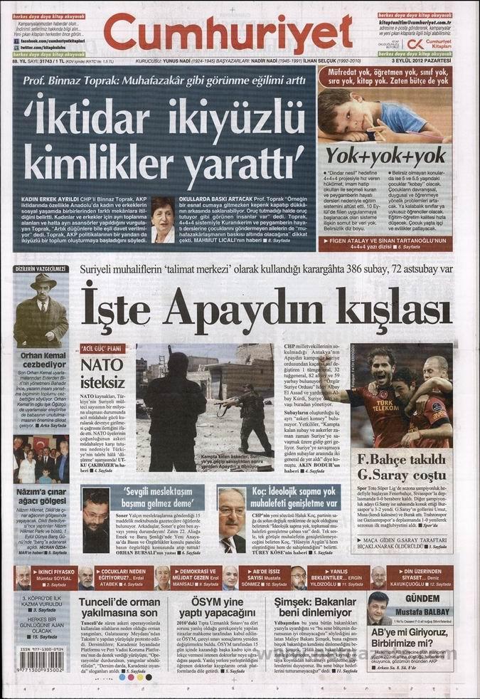 Gazete Manşetleri - 3 Eylül Pazartesi 21