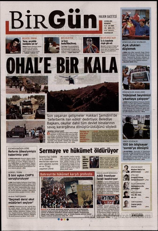 Gazete Manşetleri - 3 Eylül Pazartesi 23