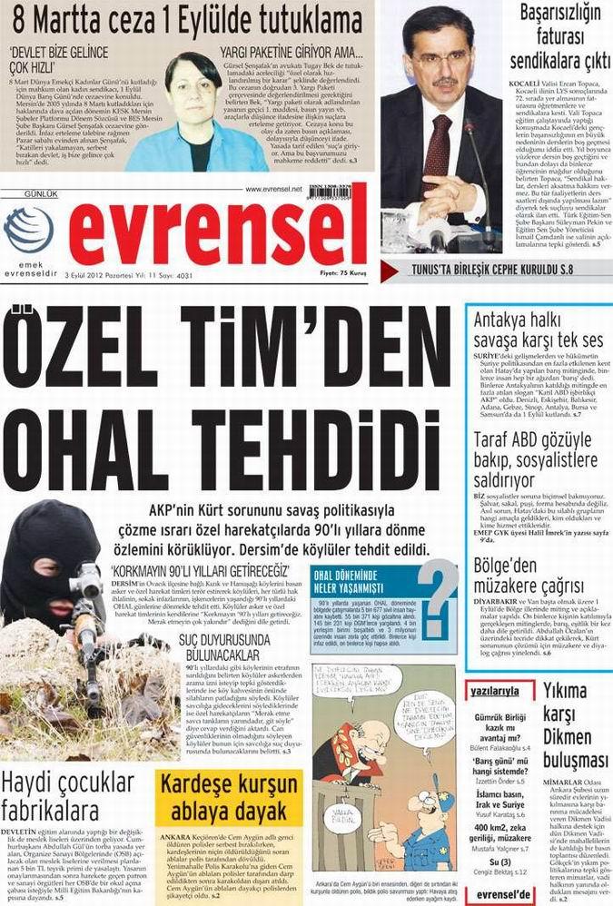 Gazete Manşetleri - 3 Eylül Pazartesi 25