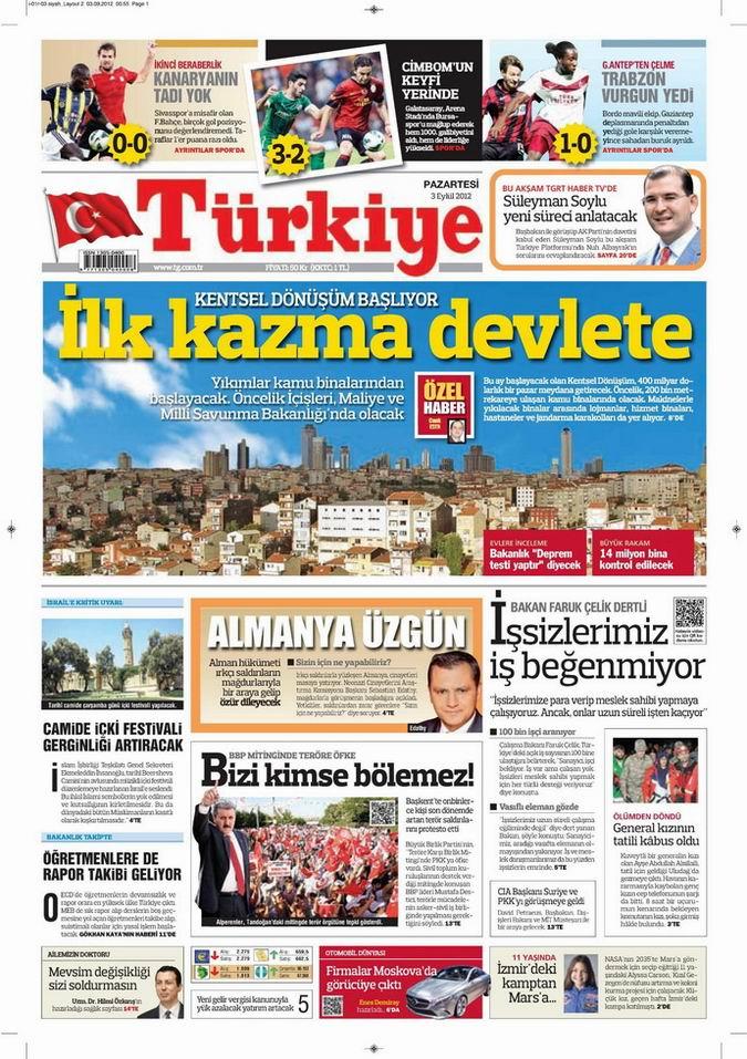 Gazete Manşetleri - 3 Eylül Pazartesi 6