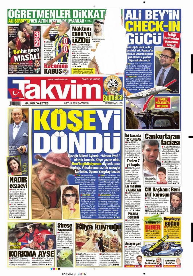 Gazete Manşetleri - 3 Eylül Pazartesi 8