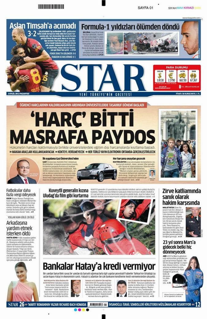 Gazete Manşetleri - 3 Eylül Pazartesi 9