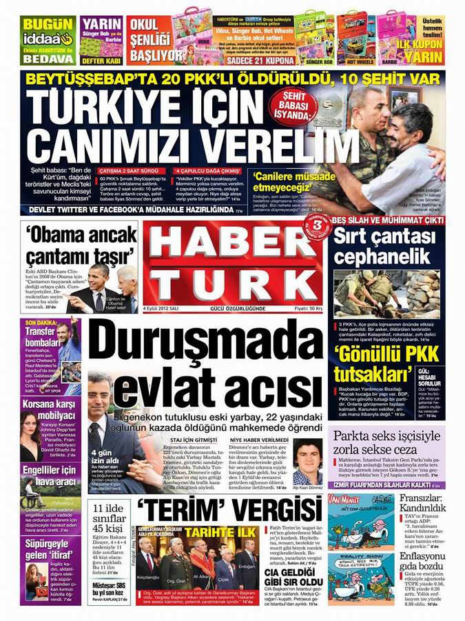 Gazete Manşetleri - 4 Eylül Salı 19
