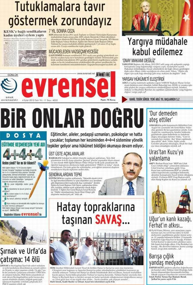 Gazete Manşetleri - 4 Eylül Salı 21