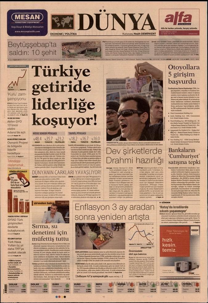 Gazete Manşetleri - 4 Eylül Salı 22