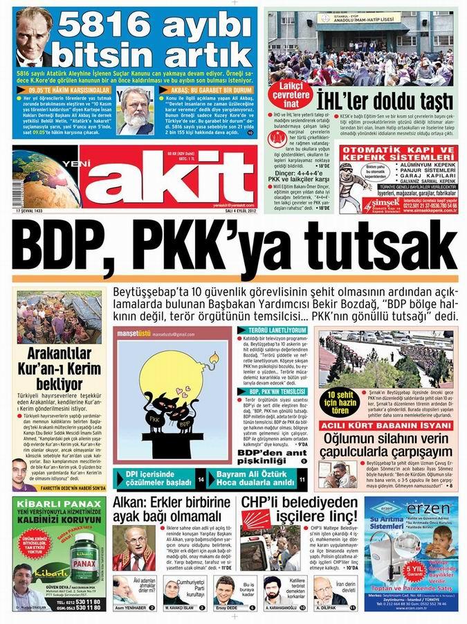 Gazete Manşetleri - 4 Eylül Salı 4