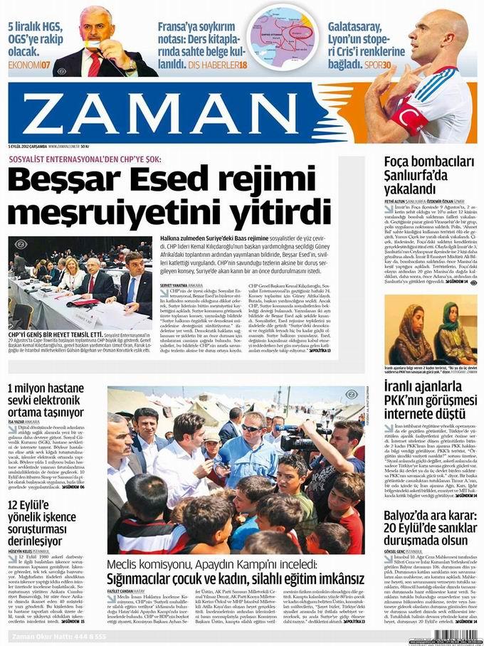 Gazete Manşetleri - 5 Eylül Çarşamba 1