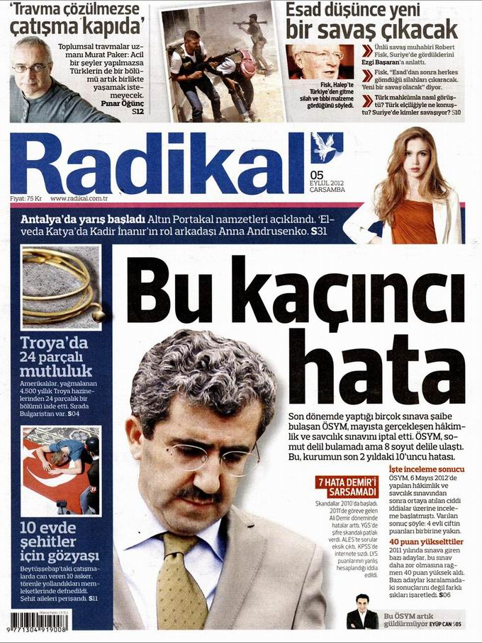 Gazete Manşetleri - 5 Eylül Çarşamba 12