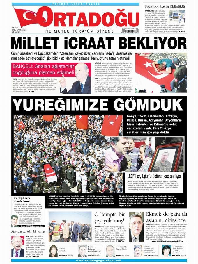 Gazete Manşetleri - 5 Eylül Çarşamba 14