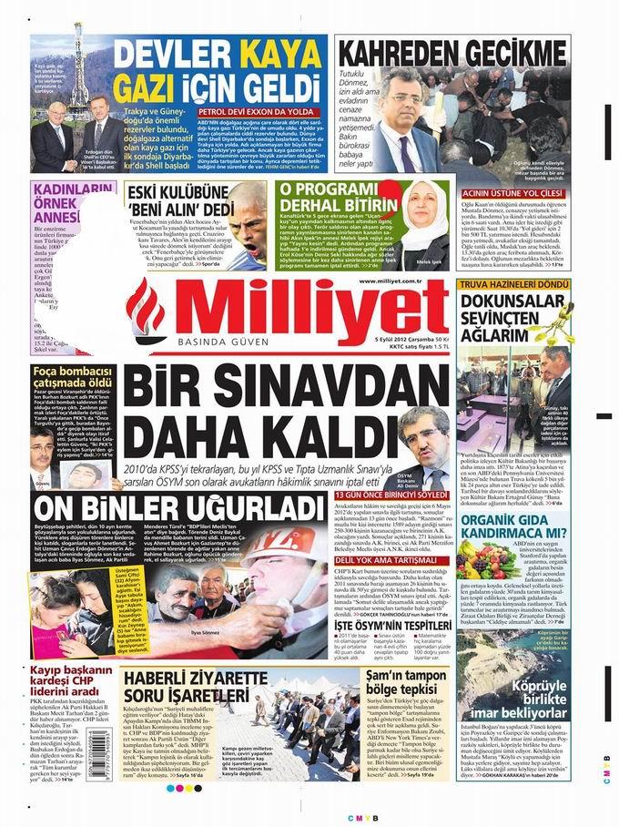 Gazete Manşetleri - 5 Eylül Çarşamba 15