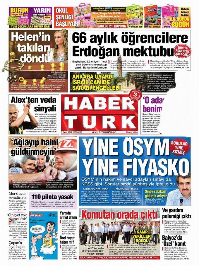 Gazete Manşetleri - 5 Eylül Çarşamba 18