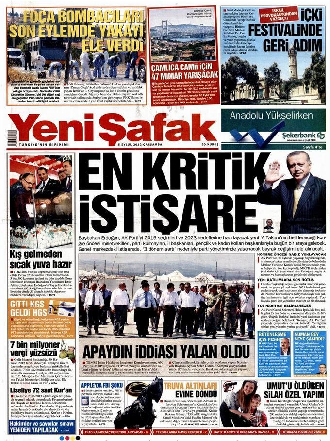 Gazete Manşetleri - 5 Eylül Çarşamba 2