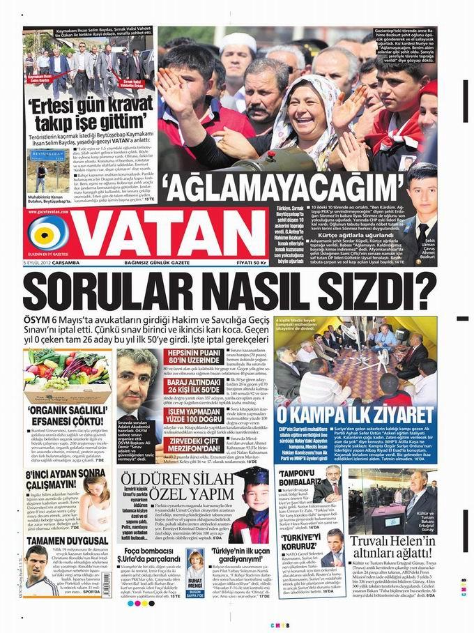 Gazete Manşetleri - 5 Eylül Çarşamba 5
