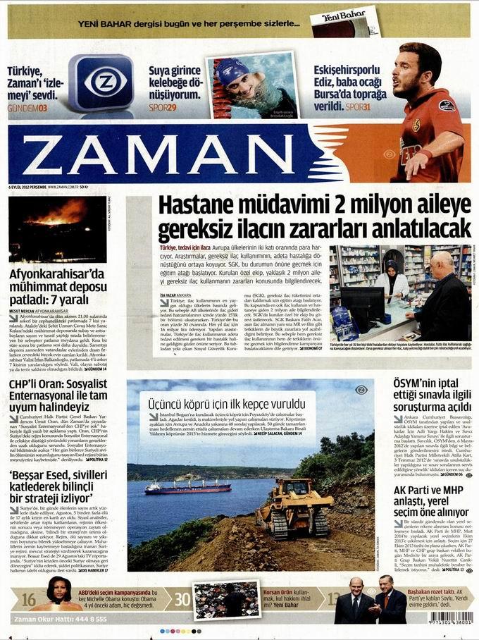 Gazete Manşetleri - 6 Eylül Perşembe 1