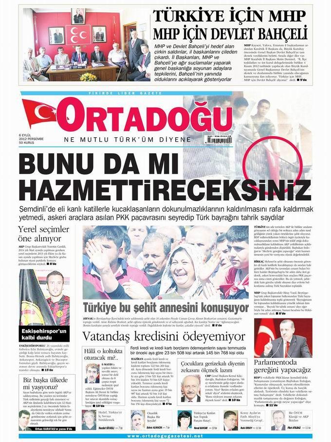 Gazete Manşetleri - 6 Eylül Perşembe 14