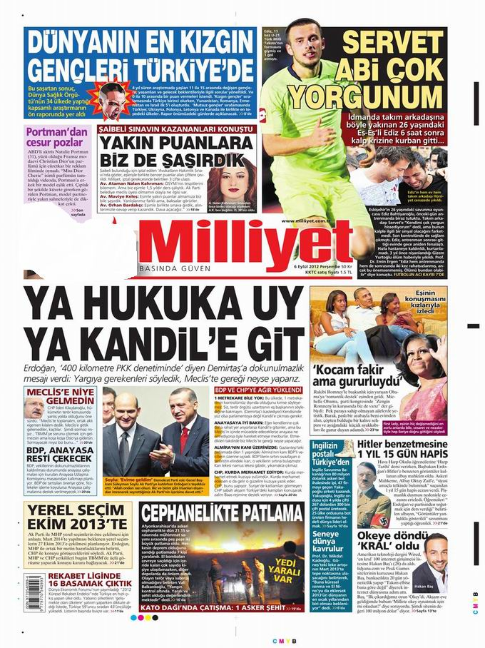 Gazete Manşetleri - 6 Eylül Perşembe 15
