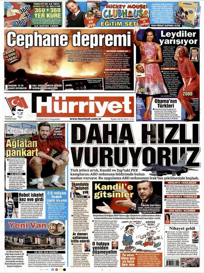 Gazete Manşetleri - 6 Eylül Perşembe 18