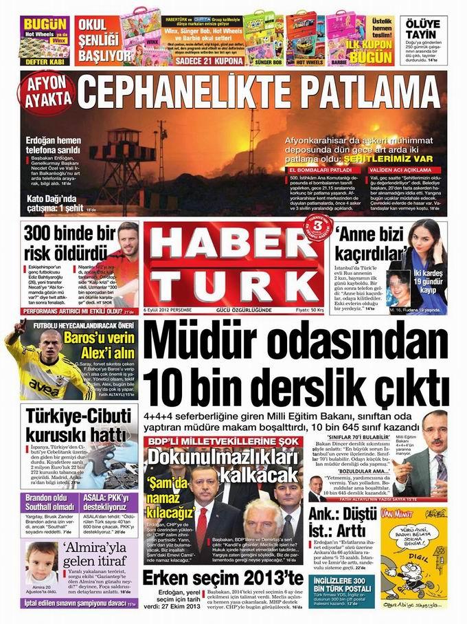 Gazete Manşetleri - 6 Eylül Perşembe 19