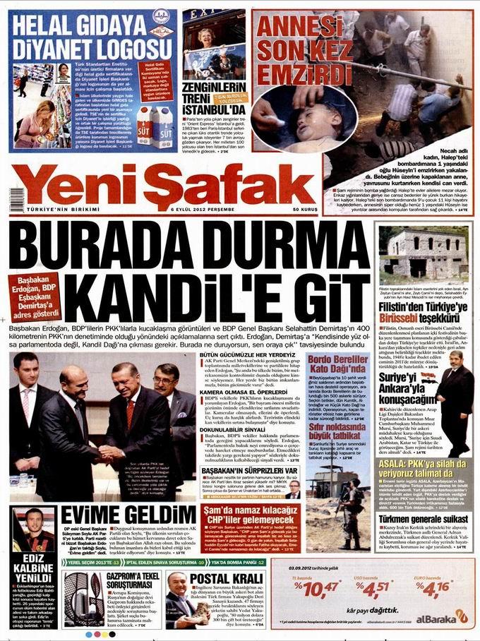 Gazete Manşetleri - 6 Eylül Perşembe 2