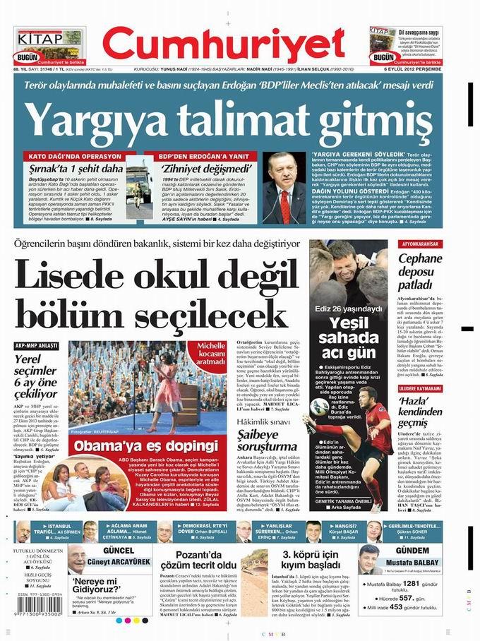 Gazete Manşetleri - 6 Eylül Perşembe 22