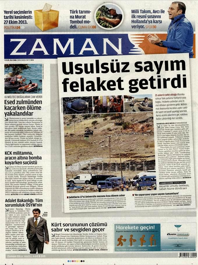 Gazete Manşetleri - 7 Eylül Cuma galerisi resim 1