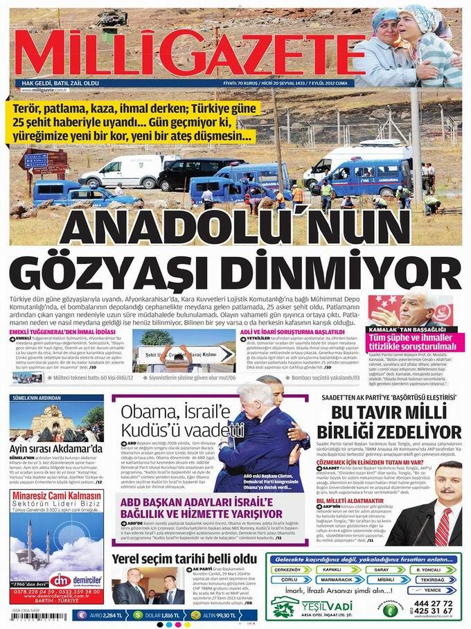 Gazete Manşetleri - 7 Eylül Cuma 17