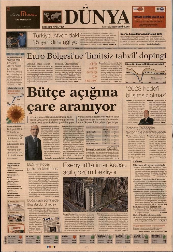 Gazete Manşetleri - 7 Eylül Cuma 22