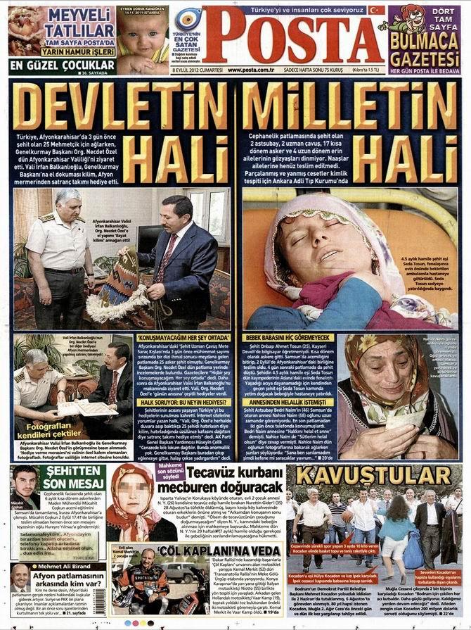 Gazete Manşetleri - 8 Eylül Cumartesi 13