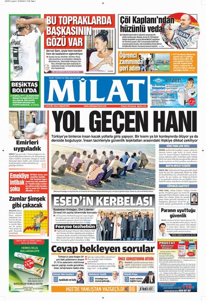 Gazete Manşetleri - 8 Eylül Cumartesi 17