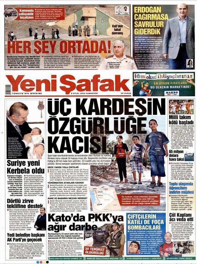 Gazete Manşetleri - 8 Eylül Cumartesi 2